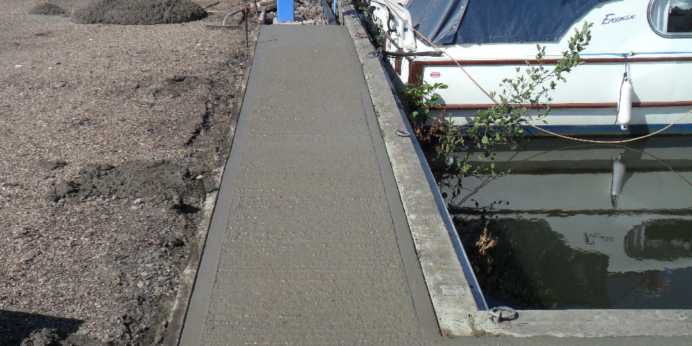 new concrete at a boat yard