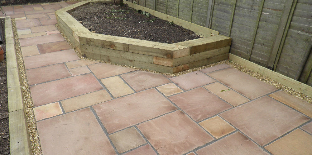new slabs laid with planter feature