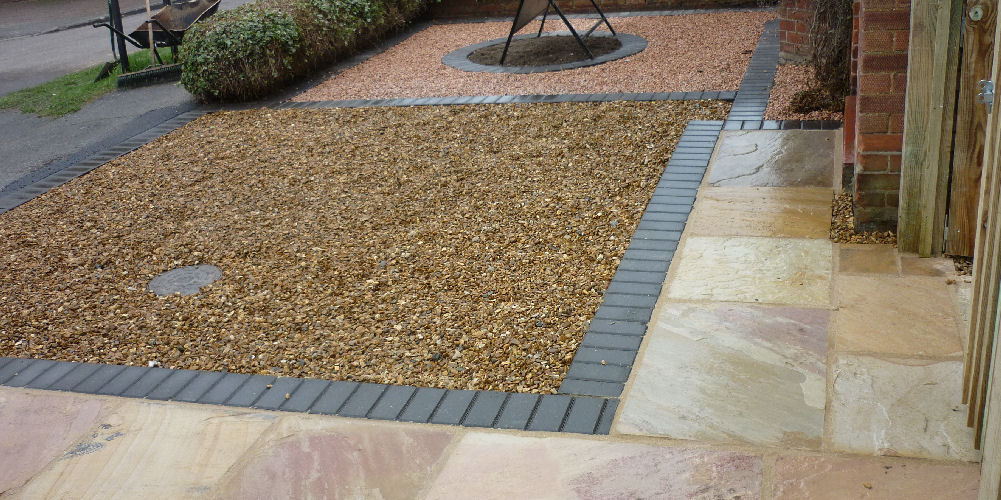 slabs with edging and loose stone