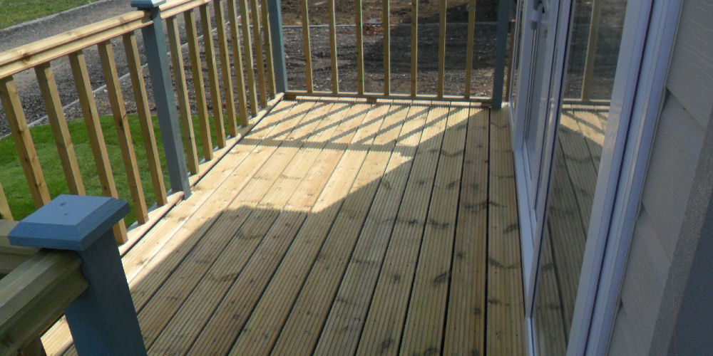 decking around a caravan