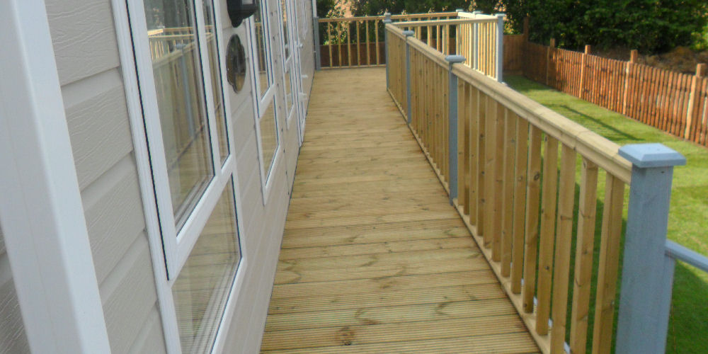 a caravan with new landscaping installation