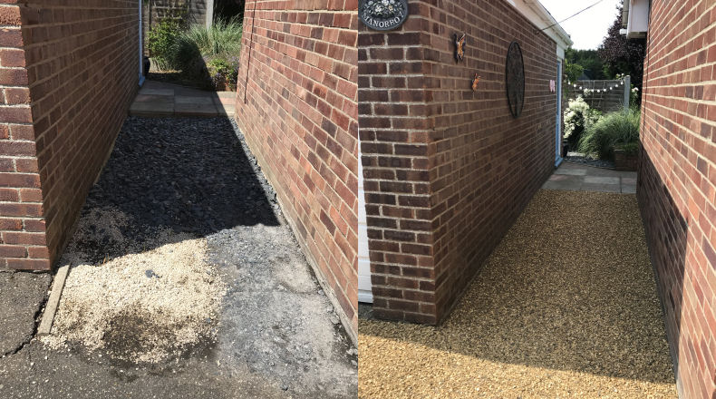 a recently surfaced driveway with tar and chip