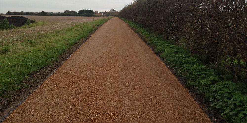 a Road Surface Dressing installation on country road